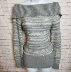 CHICO'S grey off the shoulder striped sweater